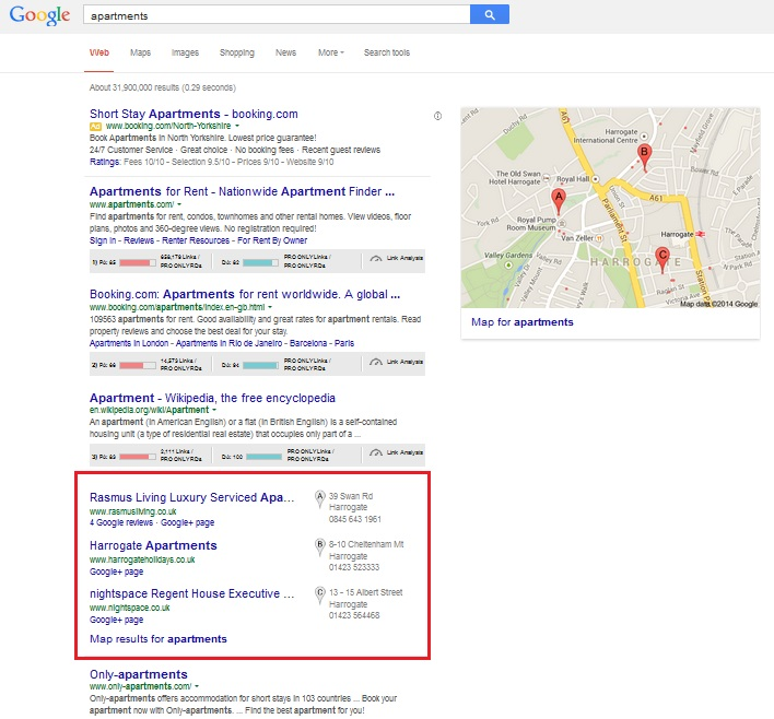Recent changes to Google Search - local pack results