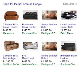 Google Shopping - Leather Sofa