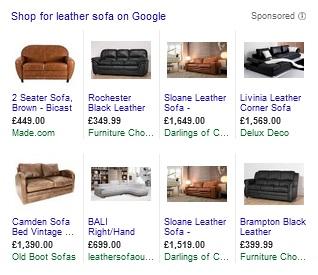 Google Shopping - Leather Sofa