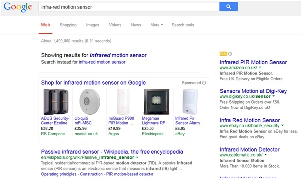 Google Shopping search for infra red motion sensor