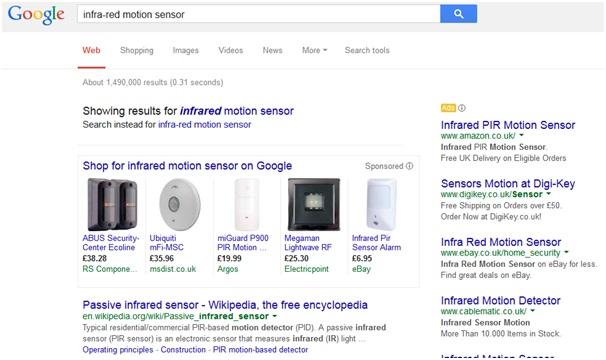 Google Shopping search for infra red motion sensor